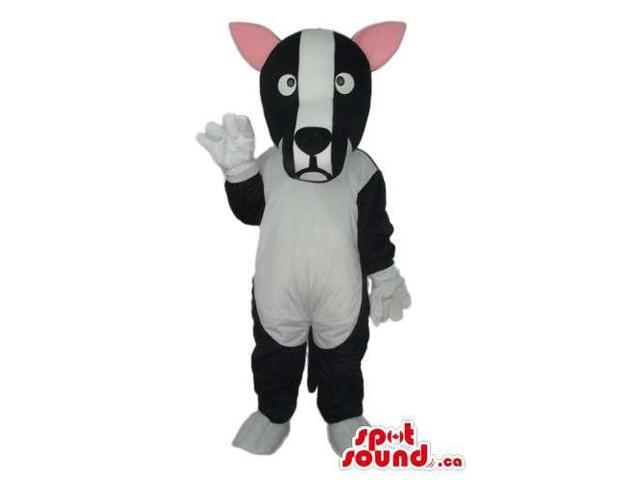 Customised Cute Black And White Dog Plush Canadian SpotSound Mascot