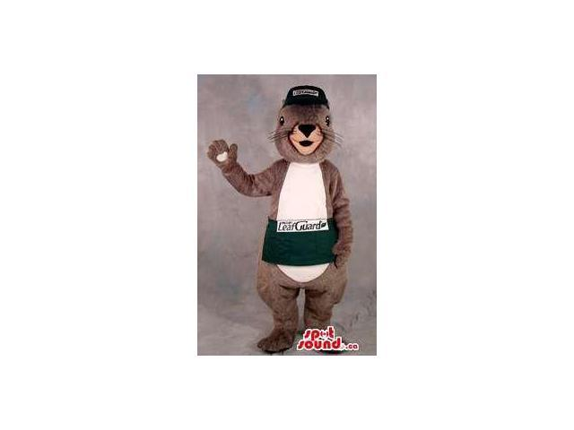 Otter Plush Canadian SpotSound Mascot Dressed In A Cap And A Sash With A Logo And Text