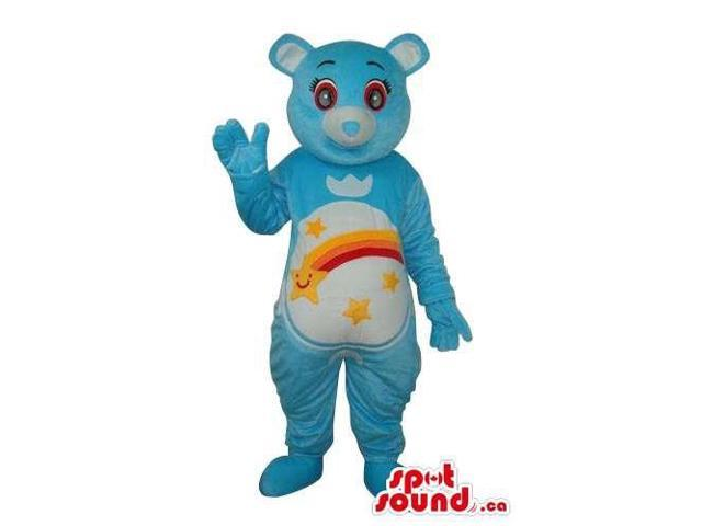 Blue Care Bear Cartoon Canadian SpotSound Mascot With A Colourful Rainbow On Belly
