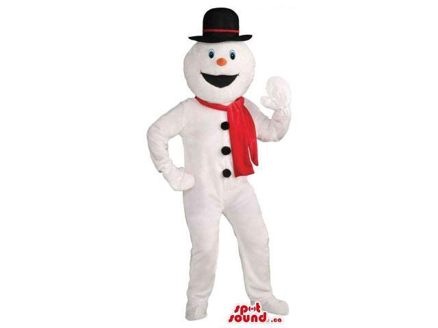 Winter Snowman Canadian SpotSound Mascot Dressed In A Red Scarf And A Top Hat