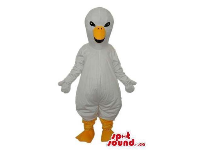 White Bird Plush Canadian SpotSound Mascot With A Long Yellow Beak And Legs