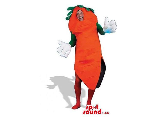 Peculiar Large Carrot Vegetable Plush Adult Size Costume With Gloves
