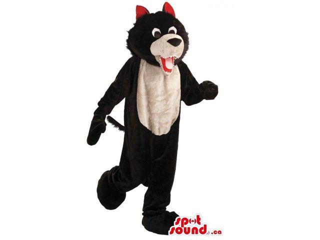 Black And Beige Cat Plush Canadian SpotSound Mascot With Red Ears And Belly