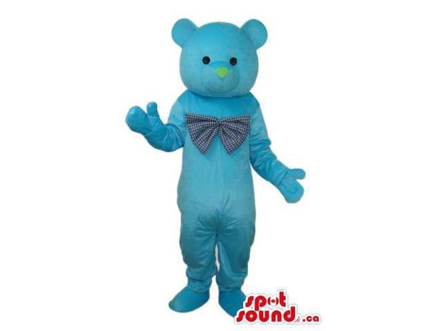 Cute All Blue Teddy Bear Plush Canadian SpotSound Mascot Dressed In A Large Bow Tie