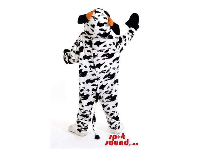 Cool Cow Plush Canadian SpotSound Mascot With Many Black Spots And Red Tongue