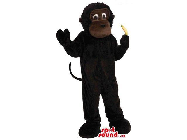 Customised Dark Brown Monkey Plush Canadian SpotSound Mascot With A Banana