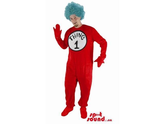Red Adult Size Costume With A Blue Wig And A Number
