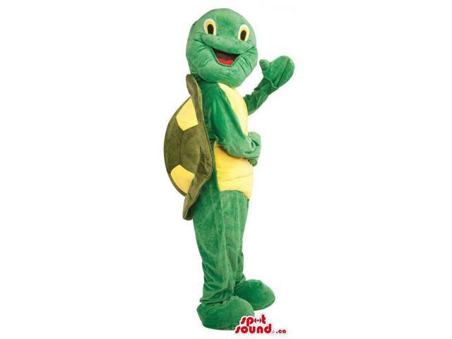 Green Turtle Plush Canadian SpotSound Mascot With A Yellow Body And A Back Shell