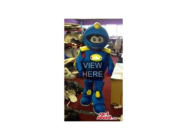 Customised Blue And Yellow Robot Canadian SpotSound Mascot With A Cute Face