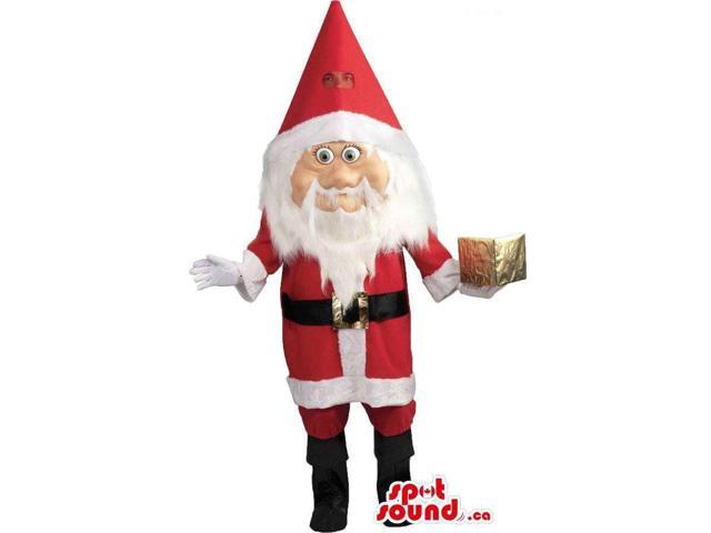Santa Claus Character Canadian SpotSound Mascot With A Golden Present
