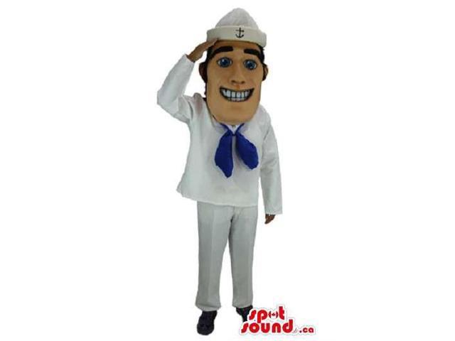Smiling Sailor Character Canadian SpotSound Mascot With White And Blue Clothes