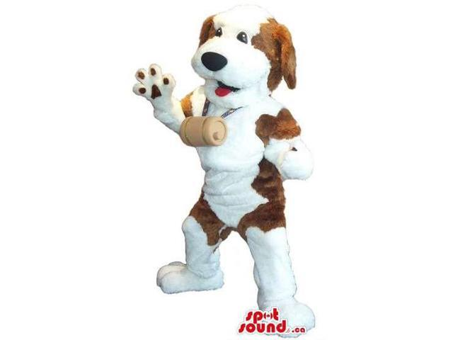 Customised Saint Bernard Dog Plush Canadian SpotSound Mascot With A Barrel