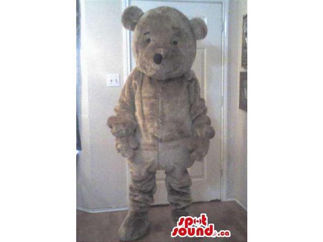 Customised Grey Teddy Bear Plush Canadian SpotSound Mascot With Tiny Eyes