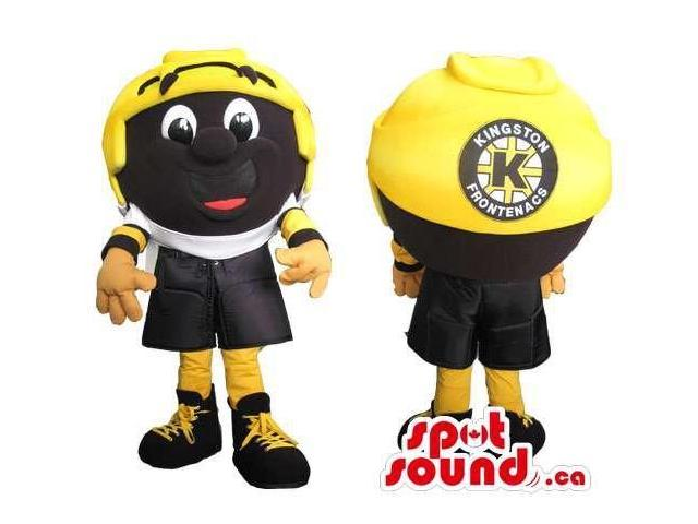 Yellow And Black Large Helmet Canadian SpotSound Mascot With A Peculiar Face And Logo