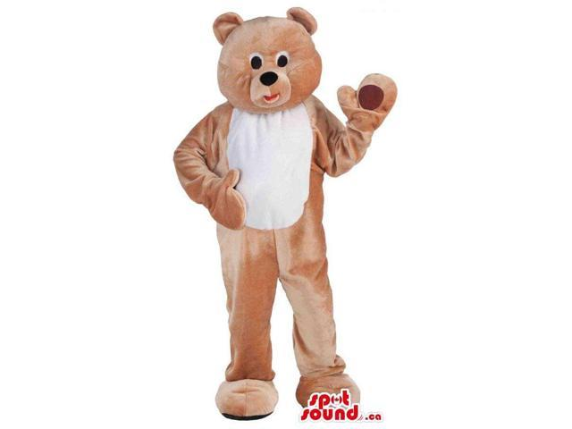 Cute Brown Teddy Bear Plush Canadian SpotSound Mascot With A White Belly