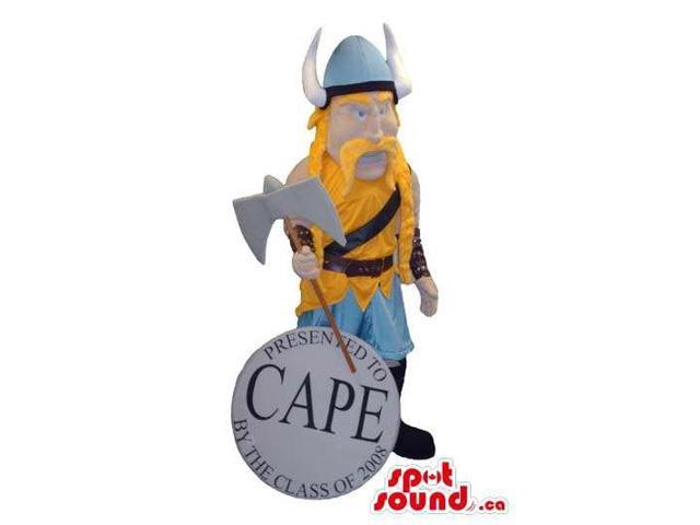 Character Canadian SpotSound Mascot Dressed In Viking Yellow And Blue Clothes