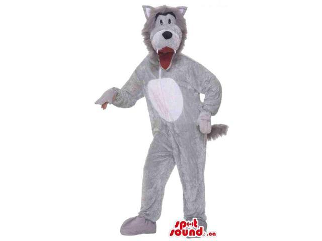 Customised Cute Grey Wolf Plush Canadian SpotSound Mascot With A White Belly