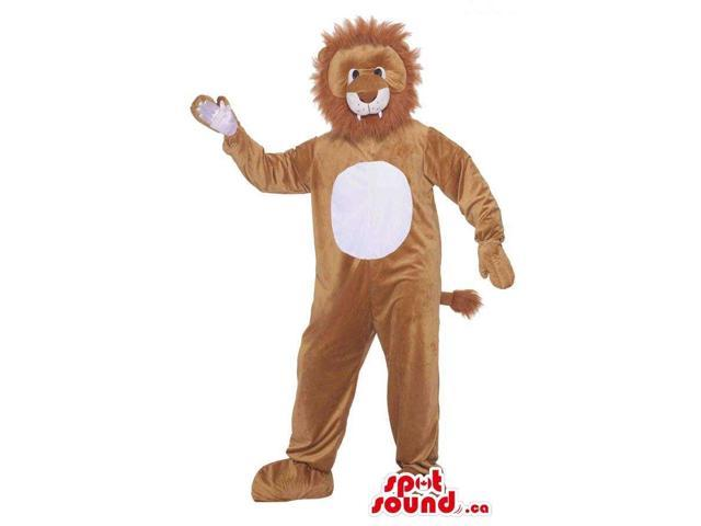 Customised Cute Brown Lion Plush Canadian SpotSound Mascot With A White Belly