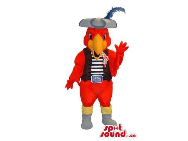 Red Parrot Plush Canadian SpotSound Mascot Dressed In A Vest And Pirate Hat