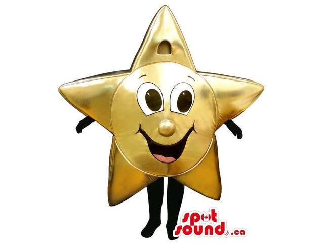 Shinny Golden Star Customised Canadian SpotSound Mascot With A Cute Face