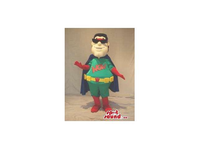 Superhero Character Canadian SpotSound Mascot Dressed In Sunglasses And A Cape