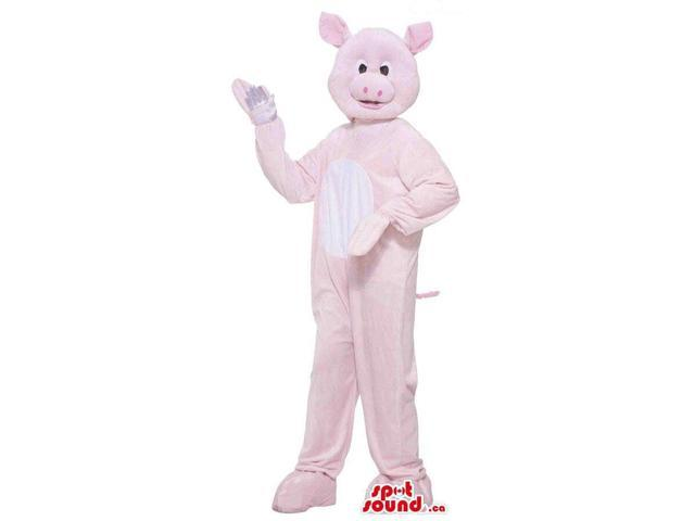 Customised Cute Pink Pig Plush Canadian SpotSound Mascot With A White Belly