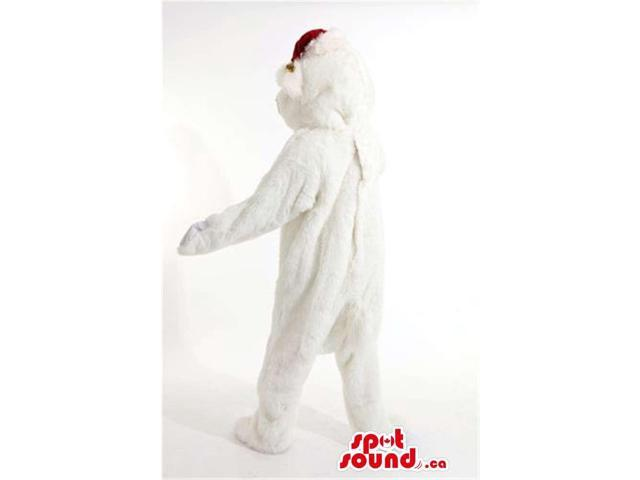 All White Polar Bear Plush Canadian SpotSound Mascot Dressed In A Santa Claus Hat