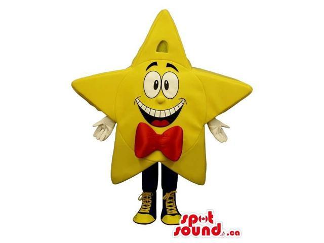Yellow Star Canadian SpotSound Mascot With A Cute Face Dressed In A Bow Tie