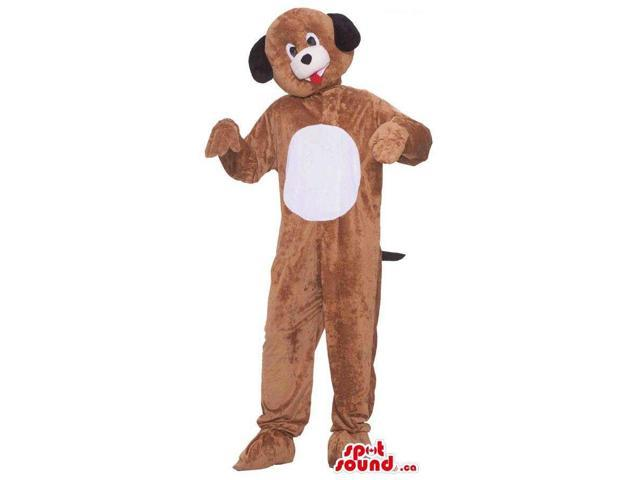 Customised Cute Brown Dog Plush Canadian SpotSound Mascot With A White Belly