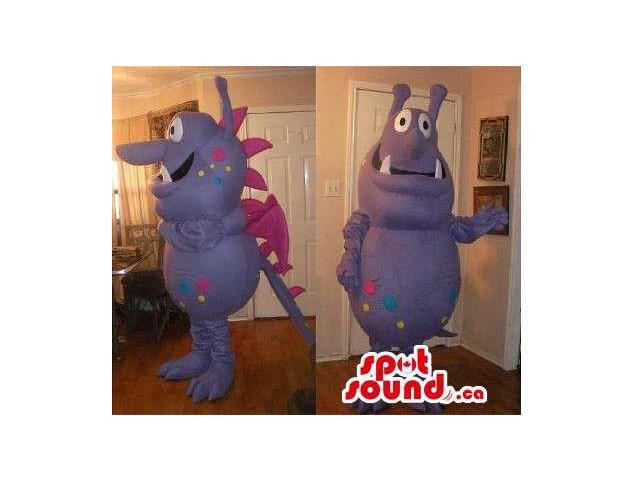 Peculiar Purple Monster Plush Canadian SpotSound Mascot With Pink Dots And Spikes