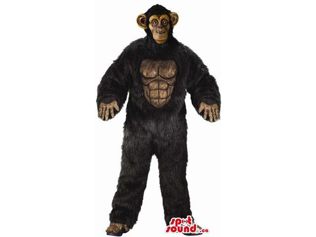 Strong Black Woolly Gorilla Plush Canadian SpotSound Mascot With Real-Looking Face