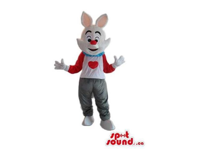 White Rabbit Canadian SpotSound Mascot Dressed In White And Red Clothes With A Heart