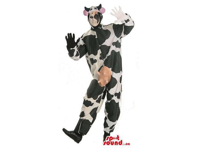 Cute White And Black Cow Animal Plush Adult Size Costume