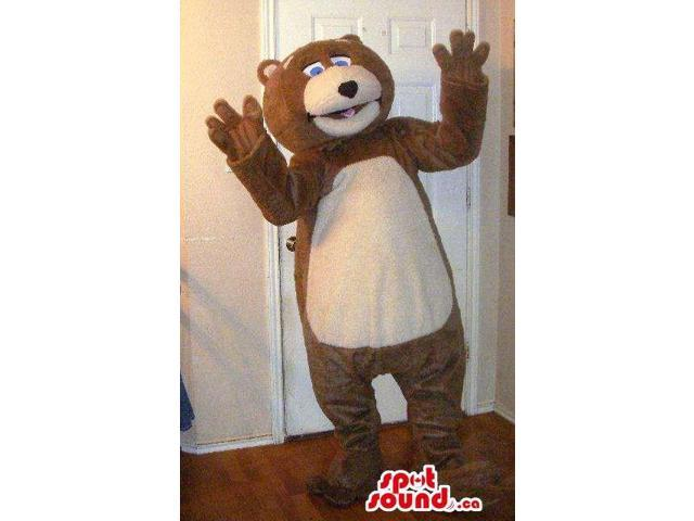 Customised Cute Brown Bear Plush Canadian SpotSound Mascot With A Beige Belly