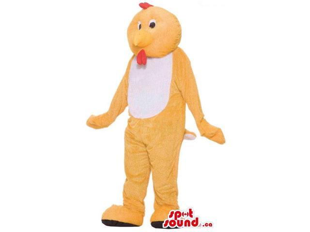 Customised Cute Yellow Chicken Plush Canadian SpotSound Mascot With A White Belly
