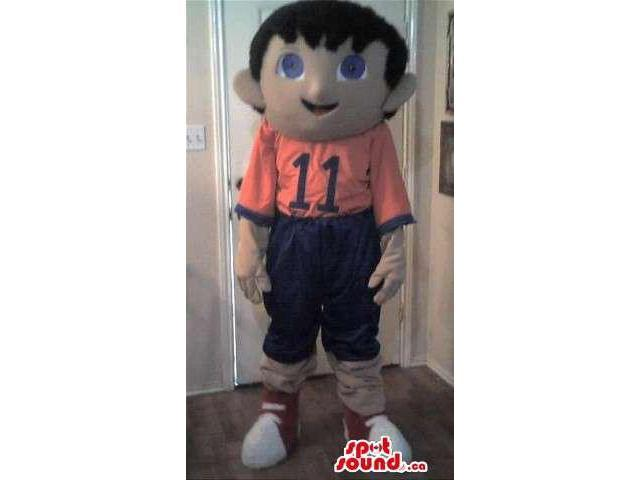 Happy Boy Canadian SpotSound Mascot Dressed In A T-Shirt With Number 11