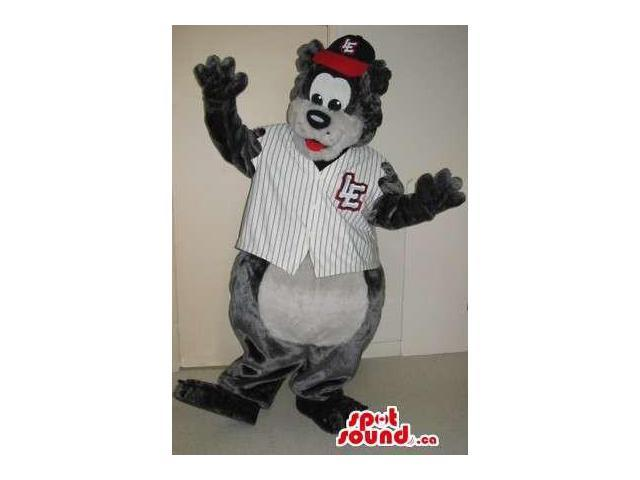 Grey Bear Plush Canadian SpotSound Mascot Dressed In Baseball Clothes With A Log