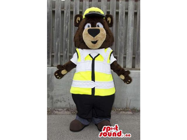 Bear Forest Plush Canadian SpotSound Mascot With A Construction Vest And Helmet