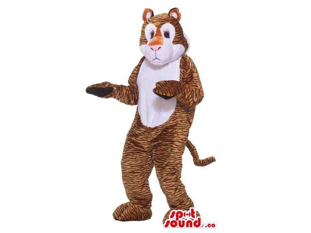 Customised Cute Brown Leopard Plush Canadian SpotSound Mascot With A White Belly