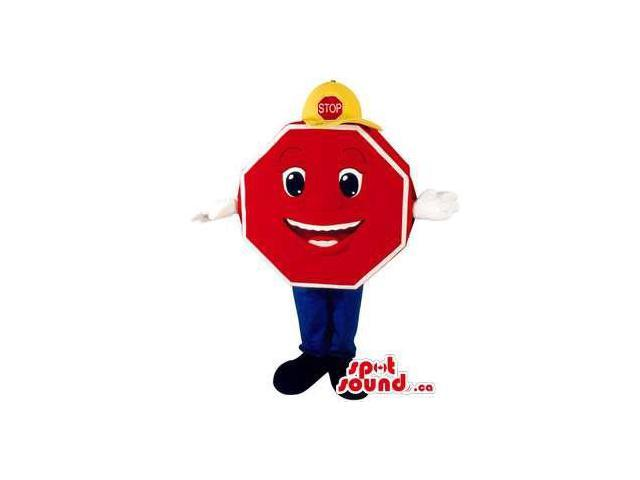 Original Stop Traffic Sign Plush Canadian SpotSound Mascot With A Face