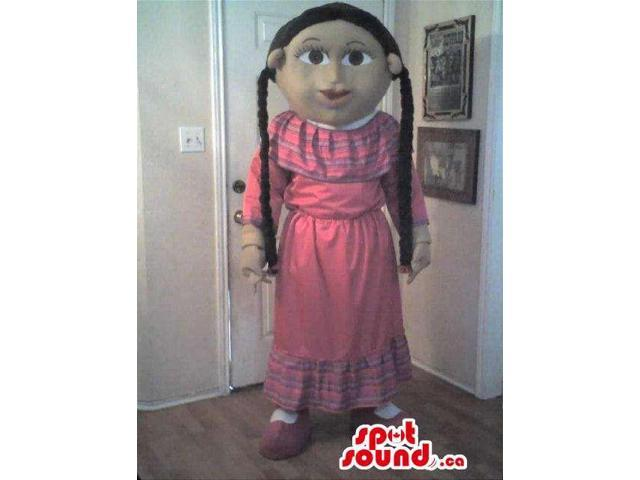 Girl Canadian SpotSound Mascot With Long Braids Dressed In A Long Dress