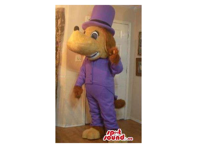 Brown Dog Plush Canadian SpotSound Mascot Dressed In Elegant Purple Clothes