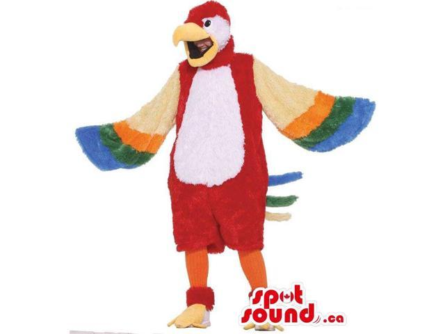 Large Red Parrot With Colourful Wings Adult Size Plush Costume
