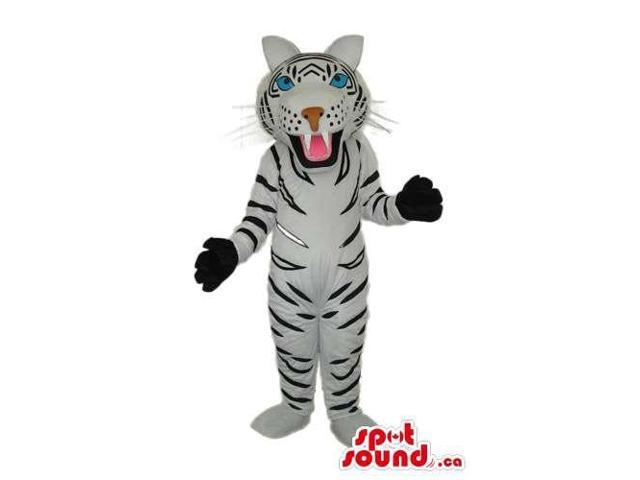 Cute White Tiger Plush Canadian SpotSound Mascot With Black Gloves And Blue Eyes