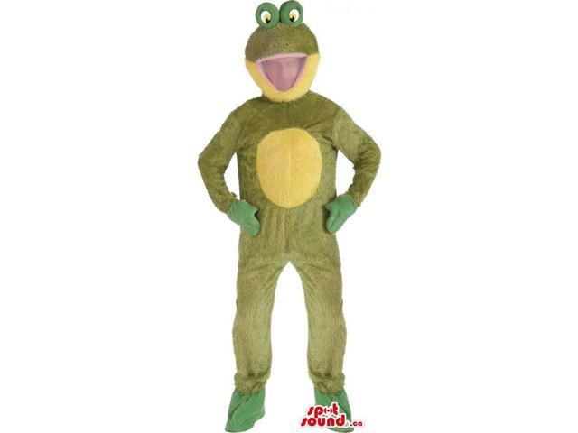 Large Green And Yellow Frog Adult Size Plush Costume