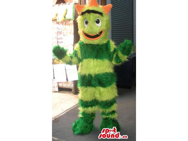 Customised Woolly Green Stripes Creature Plush Canadian SpotSound Mascot