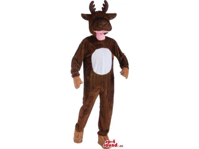 Customised Cute Brown Reindeer Plush Canadian SpotSound Mascot With A White Belly