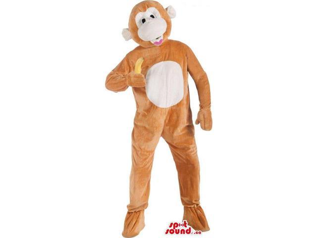 Customised Cute Brown Monkey Plush Canadian SpotSound Mascot With A White Belly