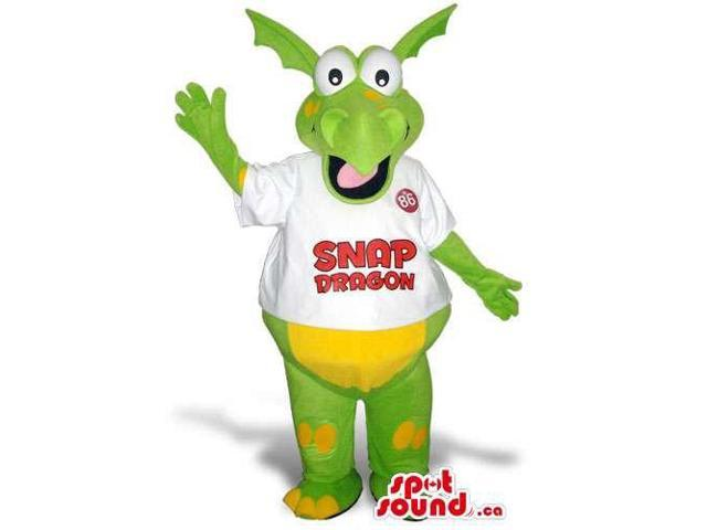 Green And Yellow Dragon Plush Canadian SpotSound Mascot In A White T-Shirt With Logo