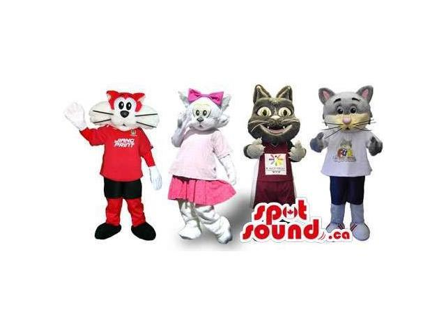 Group Of Four Cat Canadian SpotSound Mascots In Various Designs And Colors